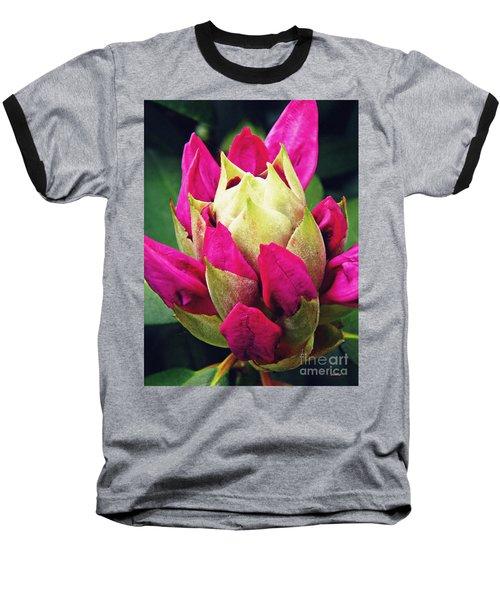 Rhododendron Velvet    Baseball T-Shirt by Sarah Loft