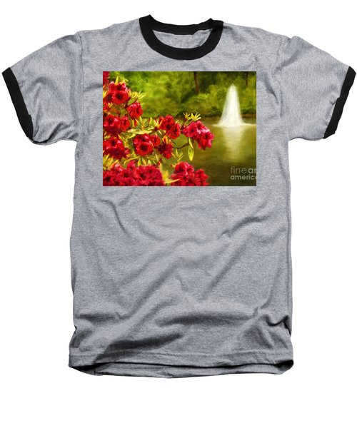 Painted Rhododendrons Fountain In Pond   Baseball T-Shirt
