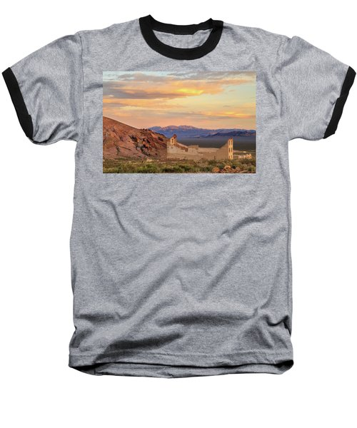 Baseball T-Shirt featuring the photograph Rhyolite Bank At Sunset by James Eddy
