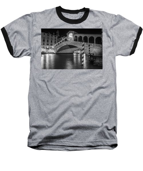 Rialto Bridge Black And White  Baseball T-Shirt