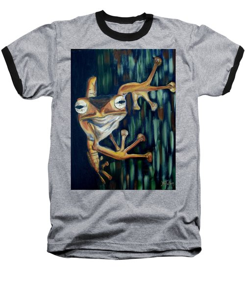 Baseball T-Shirt featuring the painting Ribbit by Donna Tuten