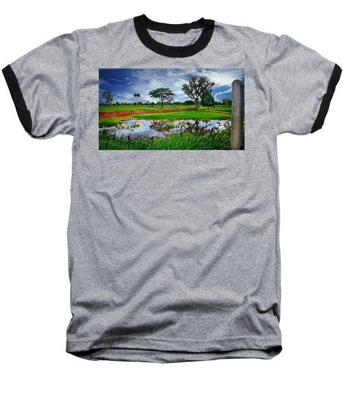 Rice Paddy View Baseball T-Shirt by Ian Gledhill