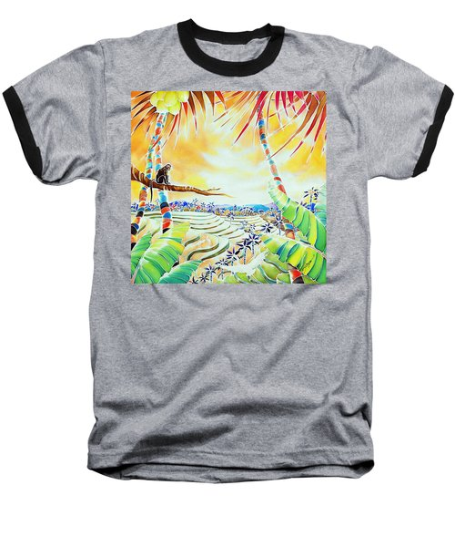 Baseball T-Shirt featuring the painting Rice Terraces In The Sunset by Hisayo Ohta