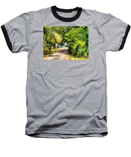 Rich Green Path Baseball T-Shirt