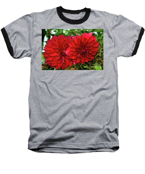Baseball T-Shirt featuring the photograph Rich Red Dahlias By Kaye Menner by Kaye Menner