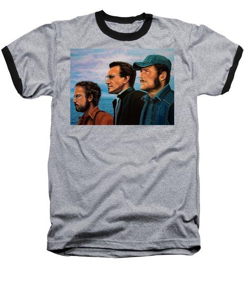 Jaws With Richard Dreyfuss, Roy Scheider And Robert Shaw Baseball T-Shirt