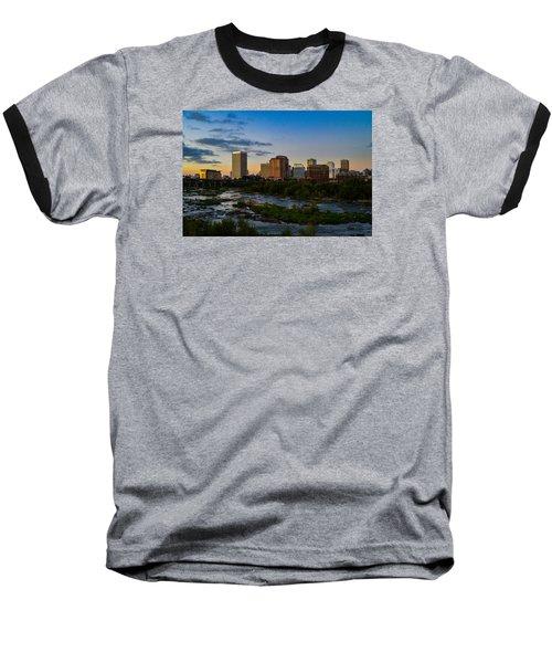 Richmond Skyline At Dusk Baseball T-Shirt