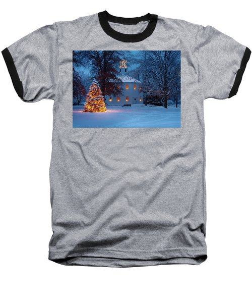 Richmond Vermont Round Church At Christmas Baseball T-Shirt