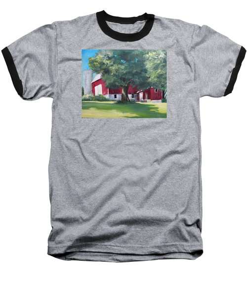Baseball T-Shirt featuring the painting Rich's Barn by Carol Hart
