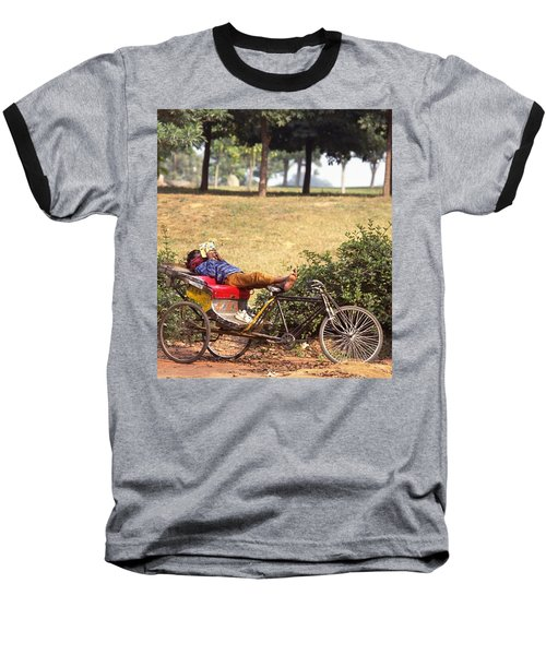 Rickshaw Rider Relaxing Baseball T-Shirt by Travel Pics