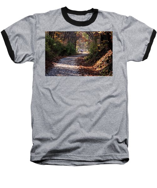 Baseball T-Shirt featuring the photograph Riding Bikes On Park Trail In Autumn by Emanuel Tanjala