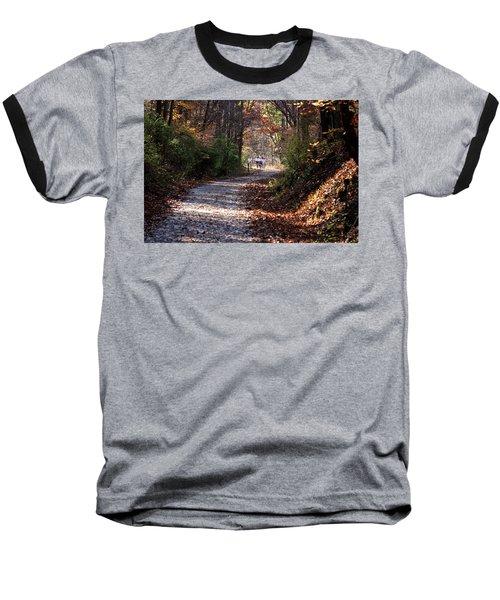 Riding Bikes On Park Trail In Autumn Baseball T-Shirt