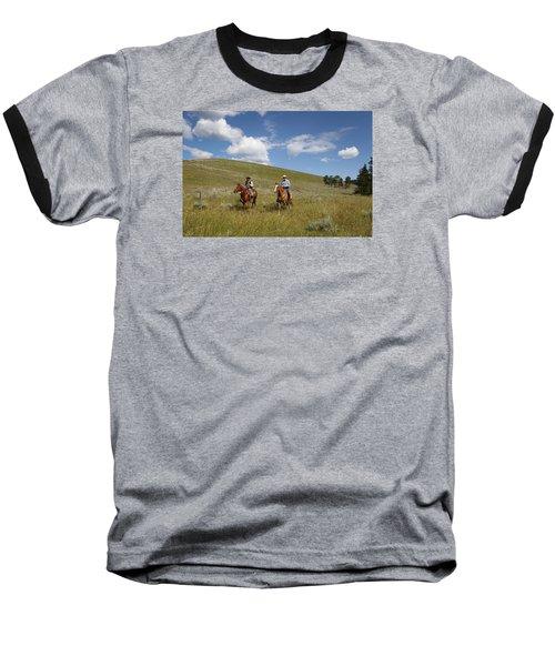 Riding Fences Baseball T-Shirt by Diane Bohna