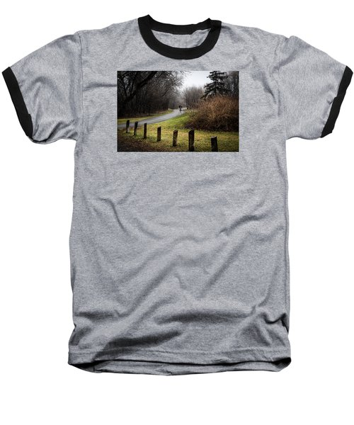 Riding Into The Fog Baseball T-Shirt by Celso Bressan