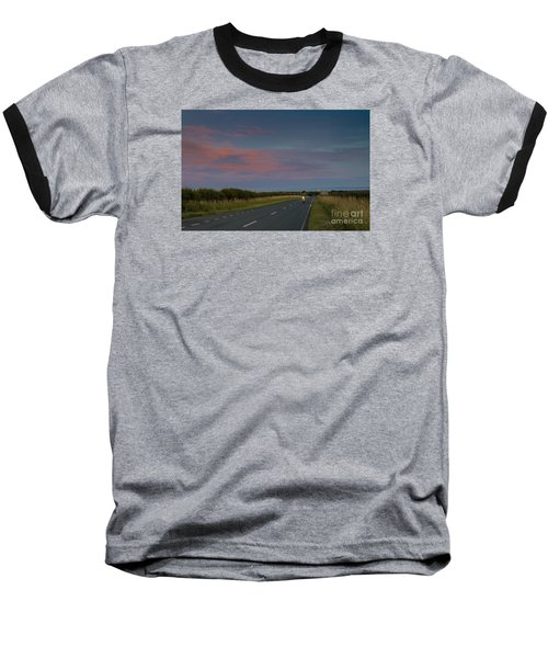 Riding Into The Sunset Baseball T-Shirt by David  Hollingworth