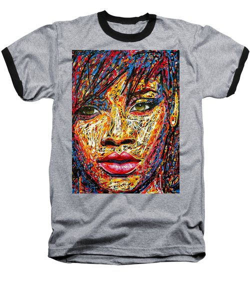 Rihanna Baseball T-Shirt by Angie Wright