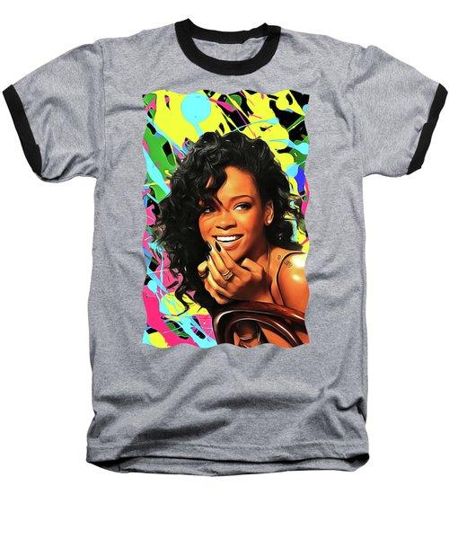 Rihanna - Celebrity Art Baseball T-Shirt