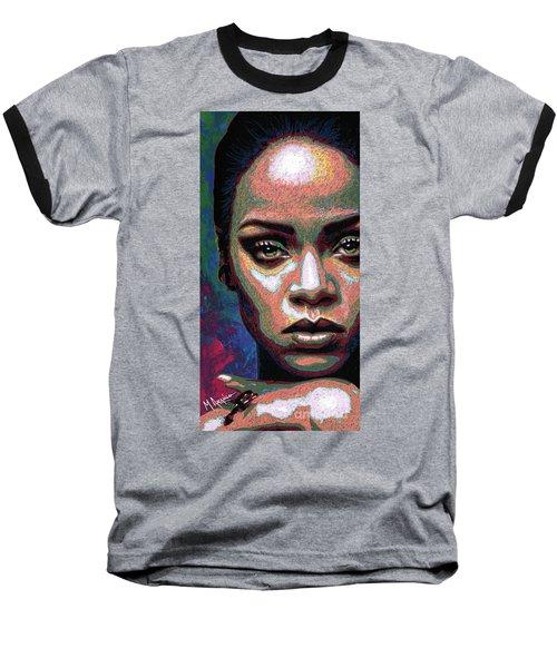 Rihanna Baseball T-Shirt by Maria Arango