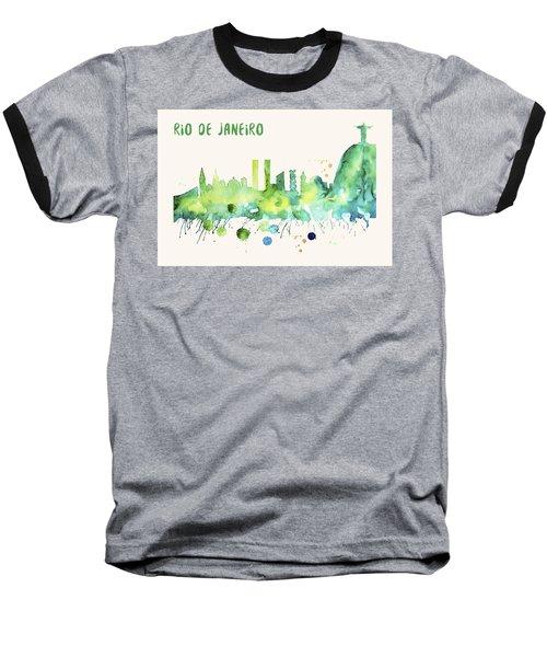 Rio De Janeiro Skyline Watercolor Poster - Cityscape Painting Artwork Baseball T-Shirt