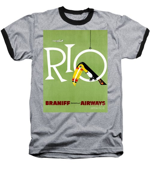 Rio Vintage Travel Poster Restored Baseball T-Shirt by Carsten Reisinger