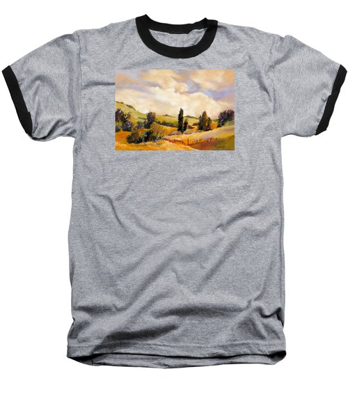 Baseball T-Shirt featuring the painting Rising Heat by Rae Andrews