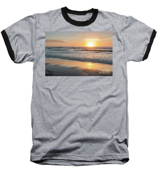 Rising Sun Reflecting On Wet Sand With Calm Ocean Waves In The B Baseball T-Shirt