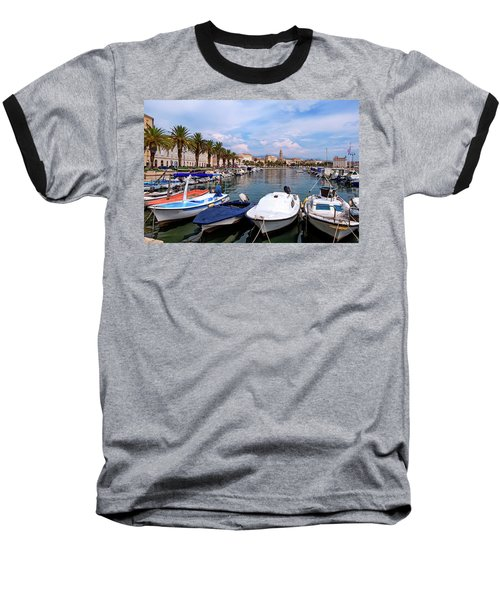 Riva Waterfront, Houses And Cathedral Of Saint Domnius, Dujam, Duje, Bell Tower Old Town, Split, Croatia Baseball T-Shirt by Elenarts - Elena Duvernay photo