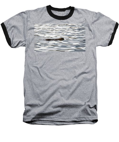 Baseball T-Shirt featuring the photograph River Abstract With Muskrat by Alex Lapidus