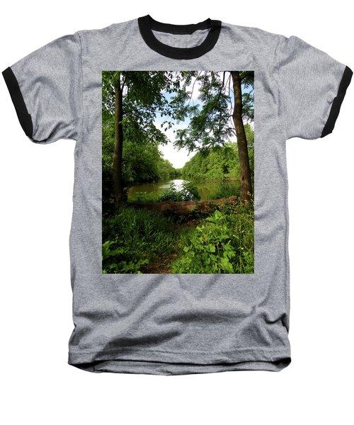 Baseball T-Shirt featuring the photograph River Bend Seating by Kimberly Mackowski