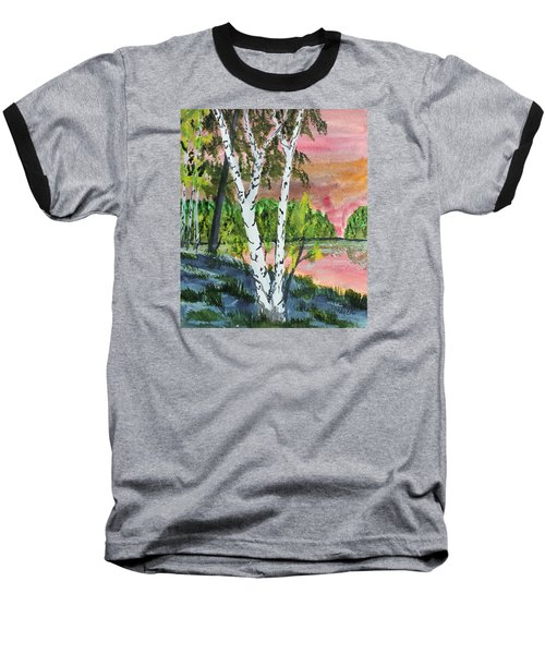 Baseball T-Shirt featuring the painting River Birch by Jack G  Brauer