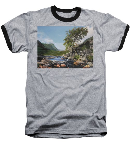 River Coe Scotland Oil On Canvas Baseball T-Shirt