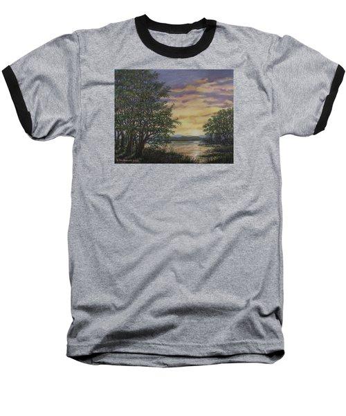 Baseball T-Shirt featuring the painting River Cove Sundown by Kathleen McDermott