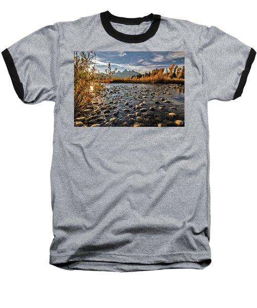 Baseball T-Shirt featuring the photograph River In The Tetons by Wesley Aston