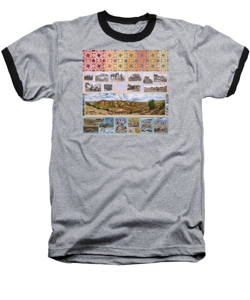 Baseball T-Shirt featuring the painting River Mural Autumn Panel Top Half by Dawn Senior-Trask