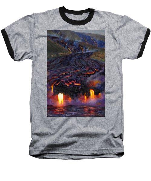 River Of Fire - Kilauea Volcano Eruption Lava Flow Hawaii Contemporary Landscape Decor Baseball T-Shirt