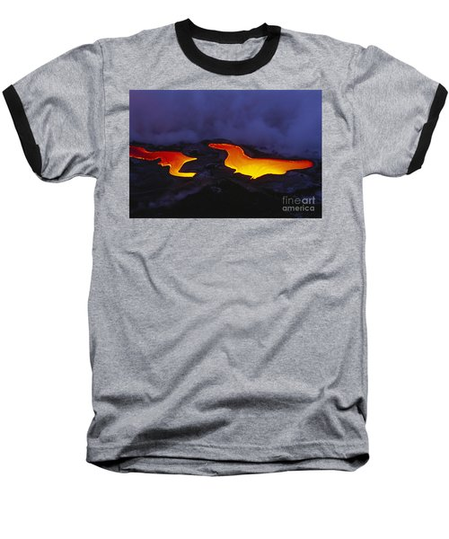 River Of Lava Baseball T-Shirt by Peter French - Printscapes
