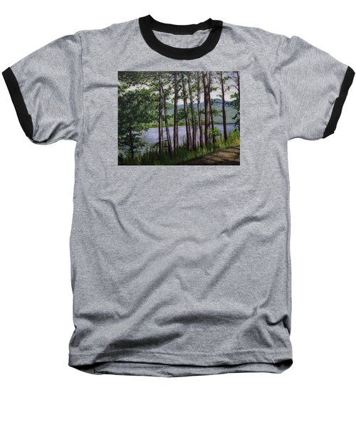 Baseball T-Shirt featuring the painting River Road by Ron Richard Baviello