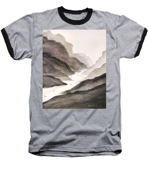 Baseball T-Shirt featuring the painting River Running Through Mountains by Edwin Alverio