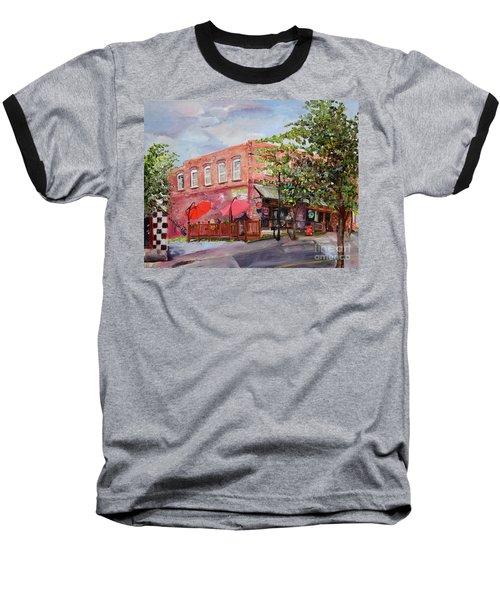 Baseball T-Shirt featuring the painting River Street Tavern-ellijay, Ga - Cheers by Jan Dappen