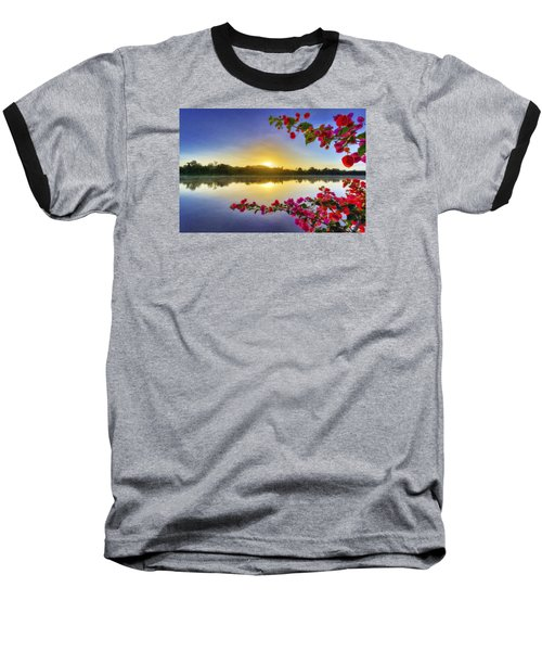 River Sunrise Baseball T-Shirt by Nadia Sanowar
