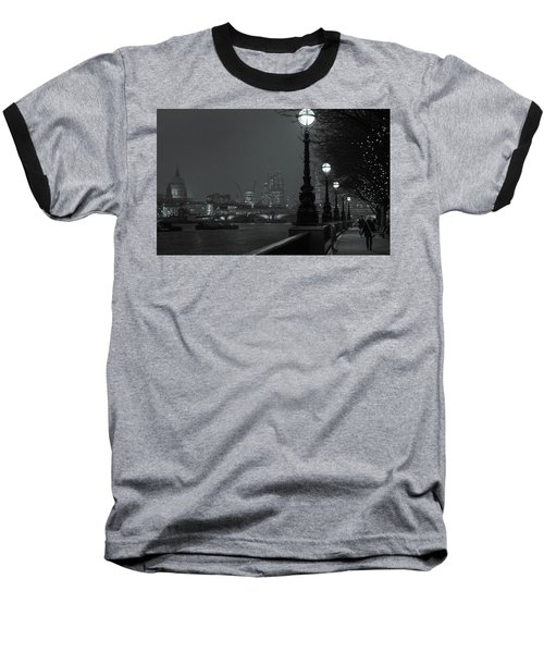 Baseball T-Shirt featuring the photograph River Thames Embankment, London 2 by Perry Rodriguez