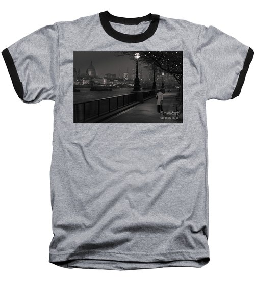 Baseball T-Shirt featuring the photograph River Thames Embankment, London by Perry Rodriguez