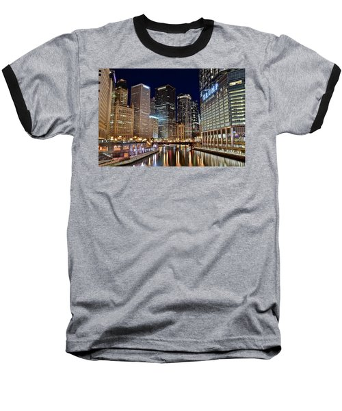River View Of The Windy City Baseball T-Shirt by Frozen in Time Fine Art Photography