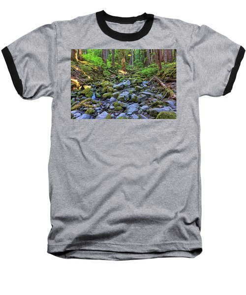 Riverbed Full Of Mossy Stones With Small Cascade Baseball T-Shirt
