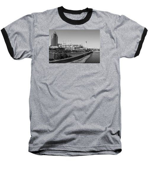 Riverfront Stadium Black And White  Baseball T-Shirt by John McGraw