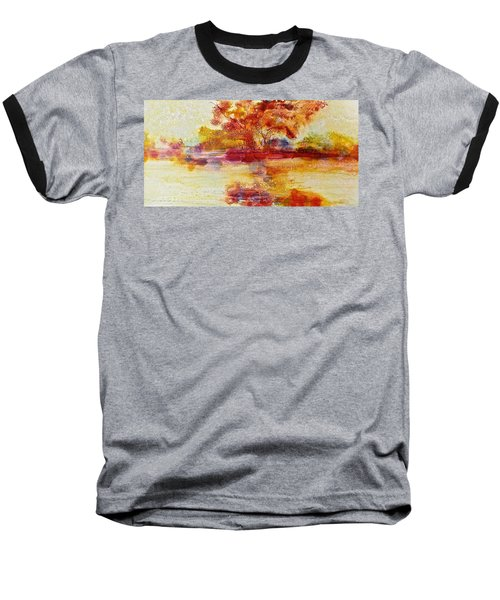 Riverscape In Red Baseball T-Shirt by Carolyn Rosenberger