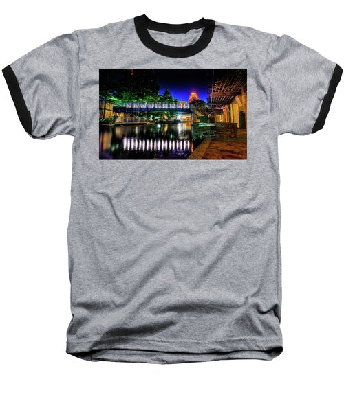 Riverwalk Bridge Baseball T-Shirt by Mark Dunton