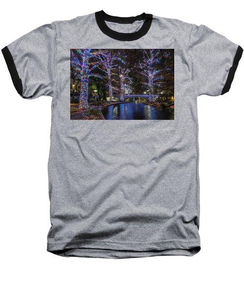 Baseball T-Shirt featuring the photograph Riverwalk Christmas by Steven Sparks