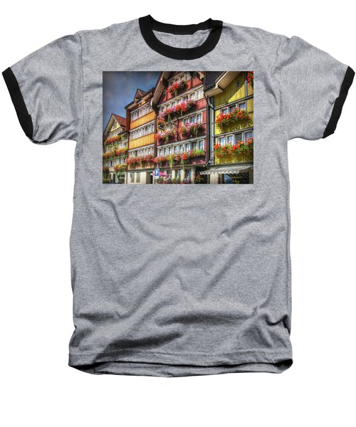 Baseball T-Shirt featuring the photograph Row Of Swiss Houses by Hanny Heim