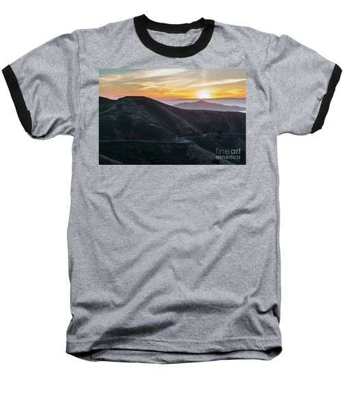 Road On The Edge Of The Mountain With Sunrise In The Background Baseball T-Shirt